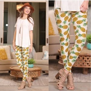 Pineapple Brushed Knit Soft Stretch Leggings